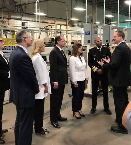 Mrs. Pence, Sec. Acosta, Dr. Adams and Ms. Conway visit Belden's Richmond manufacturing plant. (Photo: Business Wire)