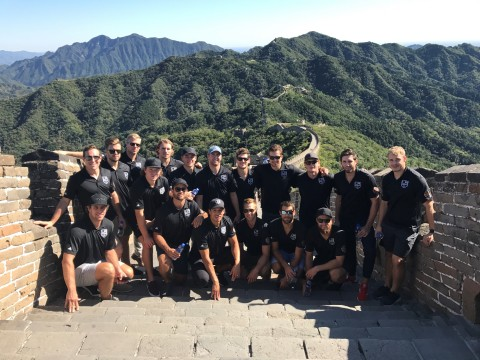 Members of the Los Angeles Kings hockey club visited The Great Wall of China in September 2017 as part of the team's week-long trip to Beijing and Shanghai to played two NHL exhibition games against the Vancouver Canucks. (Photo courtesy of LA Kings)