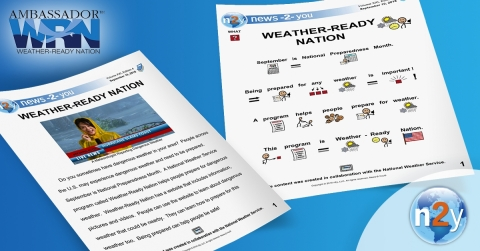 n2y created a newspaper and dozens of pages of activities all about the Weather-Ready Nation program  specifically for kids with moderate to severe cognitive learning disabilities. (Graphic: Business Wire)
