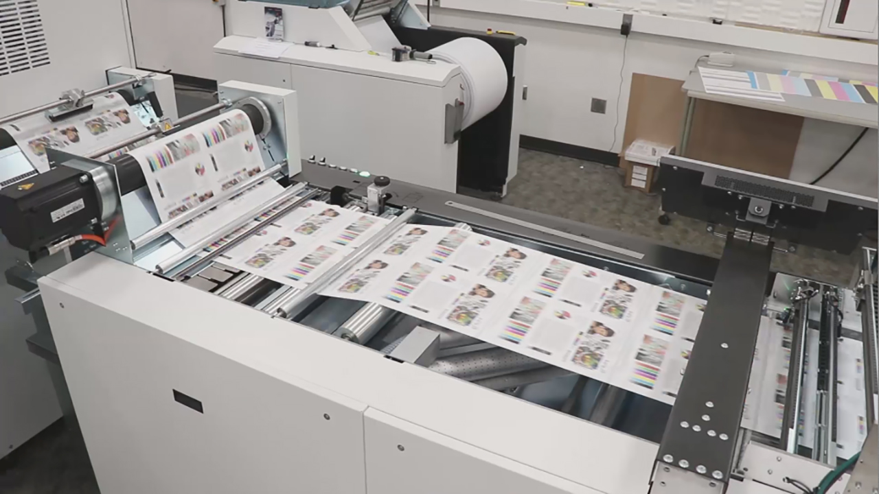 Xerox Trivor(R) 2400 High Fusion Inkjet Press' continuous feed and state-of-the-art technology automates throughput without compromising image quality. (B-roll)