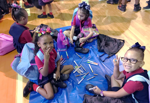 San Juan students personalize their new pair of BOBS from Skechers during a donation event, providing aid to those affected by Hurricane Maria in Puerto Rico. (Photo: Business Wire)