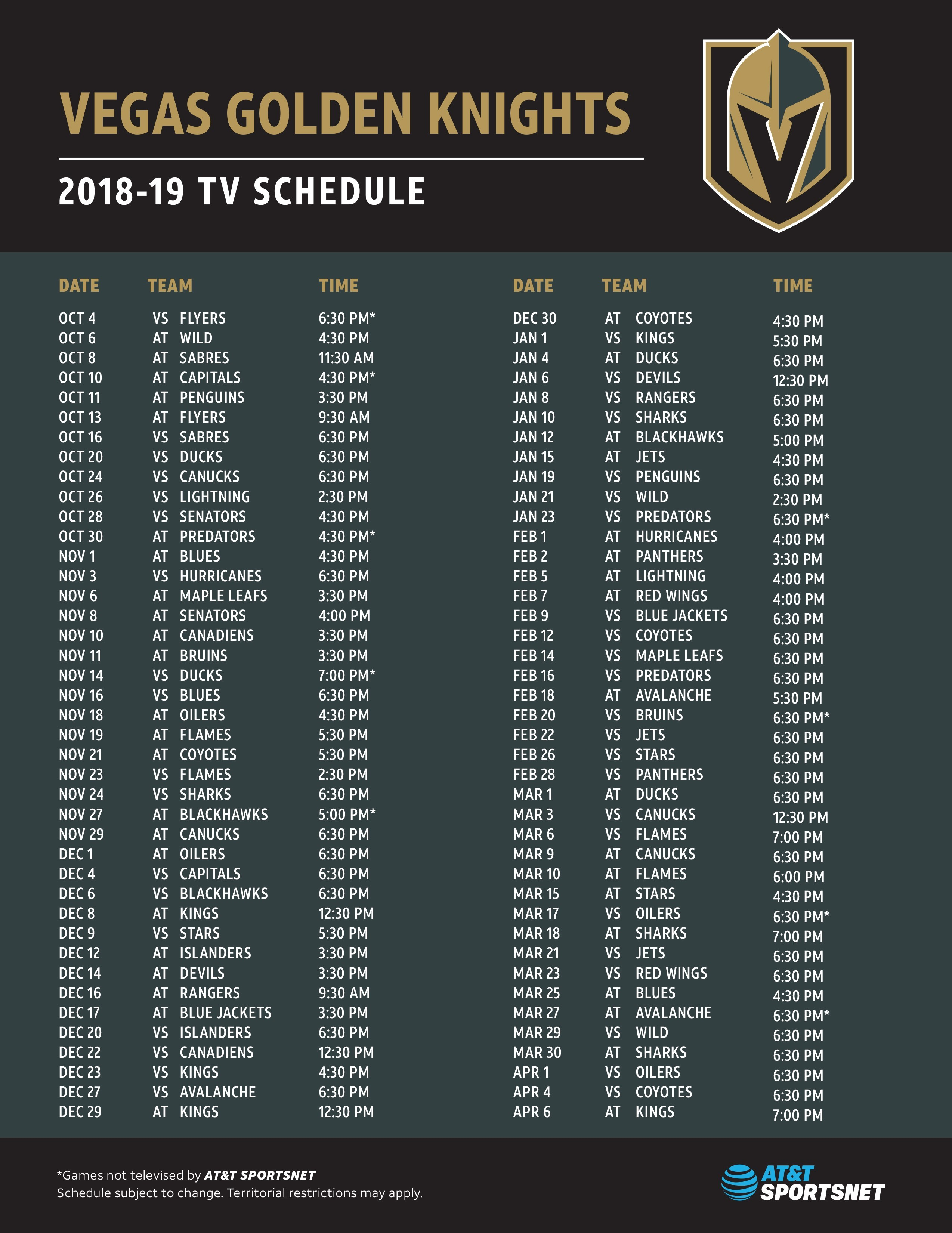 AT T SportsNet Announces Vegas Golden Knights Broadcast Schedule and New  Insider Magazine Show for 2018-19 Season  be7894138