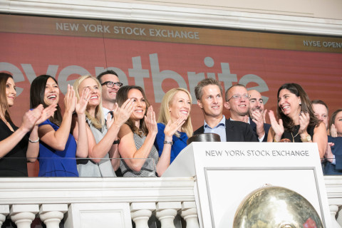 Eventbrite CEO Julia Hartz rings the NYSE Opening Bell® in celebration of their IPO. (Photo Credit: NYSE)