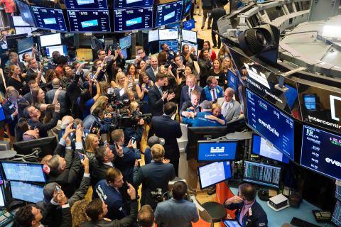 Eventbrite CEO Julia Hartz celebrates her company's IPO on the trading floor of the New York Stock Exchange. (Photo Credit: NYSE)