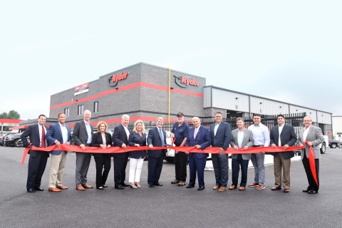 Ryder executives and employees, along with local officials, during ribbon cutting ceremony in Readin ...
