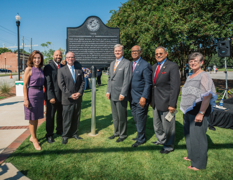 TSYS and Georgia Historical Society Marker Unveiling. Pictured (left to right): Teresa Tomlinson, Mayor of Columbus; Bruce Huff, Columbus City Councilor; Dr. Todd Groce, President & CEO, Georgia Historical Society; M. Troy Woods, Chairman, President & CEO, TSYS; State Representative Calvin Smyre (GA, District 135); U.S. Representative Sanford Bishop (GA, 2nd District); Sherry Fredrick, TSYS team member. (Photo: Business Wire)