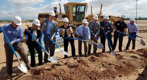 Delighted to be breaking ground for GEICO's new regional office at The Bridges are, from left: Craig Porter, The Renaissance Companies president; Michelle Trindade, GEICO's Tucson regional vice president; Don Bourn, Bourn Companies founder and CEO; Shirley Scott, Tucson city council member; Mayor Jonathan Rothschild; Bill Roberts, GEICO president and CEO; Vice Mayor Richard Fimbres; Shane Wheeler; GEICO claims officer; and John Alutto, GEICO underwriting officer. (Photo: Business Wire)
