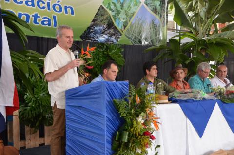 Dole Fresh Fruit President Renato Acuña speaks at the anniversary celebration of Dole's landmark environmental sustainability certification. (Photo: Business Wire)
