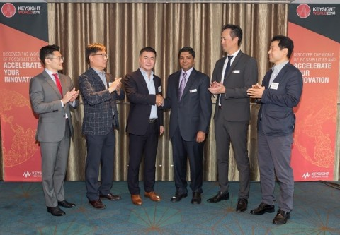 Left to right: Sun-Woo Lee, global account manager, Samsung; Harvey Sung, managing director, DT&C; C ...