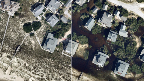 High-resolution aerial imagery from Nearmap of Southport, N.C., shows conditions in a neighborhood b ...
