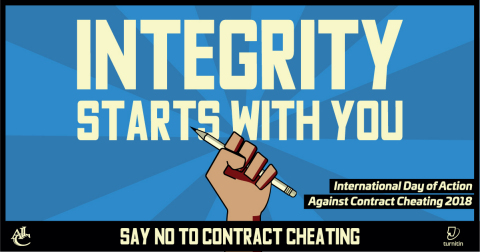 Join with educators and students to take the pledge to #DefeatTheCheat and #ExcelWithIntegrity for the International Day of Action Against Contract Cheating on October 17. (Graphic: Business Wire)