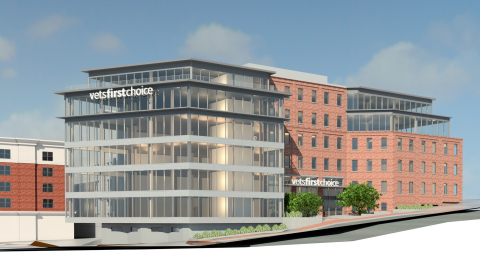 The front view of the proposed Vets First Choice new corporate headquarters in downtown Portland, Maine. The building will also house a state-of-the-art specialty pharmacy; an automated commercial pharmacy and fulfillment center, and a world-class science, technology, engineering and math center. (Graphic: Business Wire)