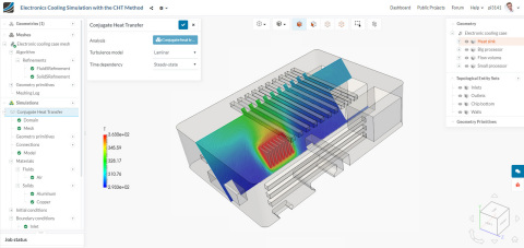Conjugate heat transfer simulation of an electronics enclosure with SimScale (Graphic: Business Wire)