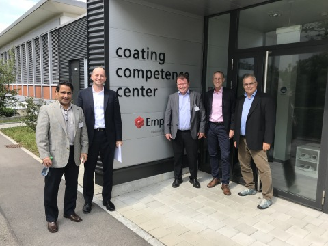 Dave Ramahi and Urs Berger, Optomec. Harald Moder- Merconics, Lars Sommerhäuser and Pierangelo Gröning -EMPA at the Coating Competency Center Lab at Empa in Switzerland. Photo courtesy of Optomec.