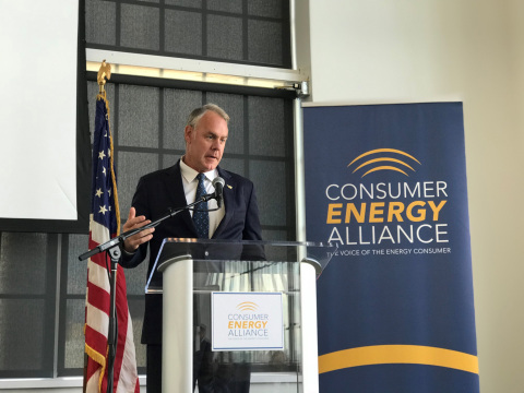 Interior Secretary Ryan Zinke at Consumer Energy Alliance's Energy and Manufacturing Summit at the E ...