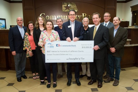 CommunityBank of Texas and FHLB Dallas awarded $16K in Partnership Grant Program funds to Habitat for Humanity of Jefferson County to help low-income families affected by Hurricane Harvey. (Photo: Business Wire)