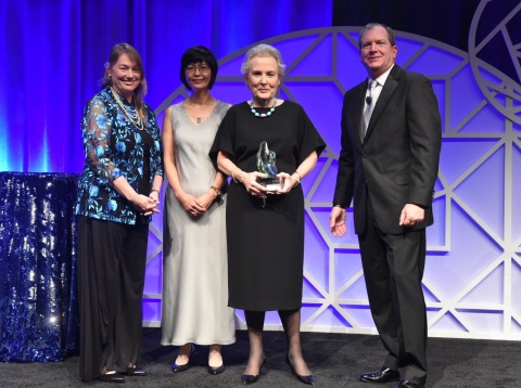 Newmont board members Noreen Doyle (Board Chair, right), Molly Zhang (center), Jane Nelson (left) accepting the inaugural NACD NXT award in the Large Cap category. (Photo: Business Wire)