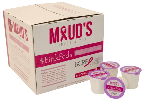 "Intelligent Blends has launched a year-long ""coffee with a cause"" campaign with the introduction of #PinkPods, a new variety in the Maud's Coffee & Tea's line, in partnership with the Breast Cancer Research Foundation. (Photo: Business Wire)"