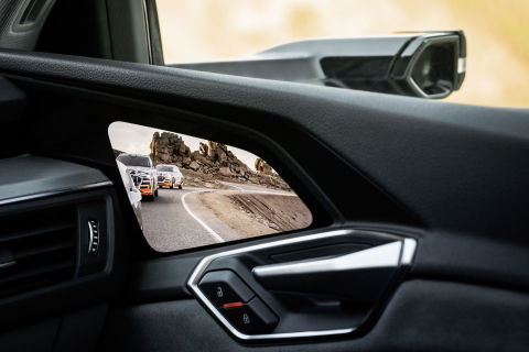 Optional Audi virtual exterior mirrors with Samsung OLED displays (Photo: Business Wire)