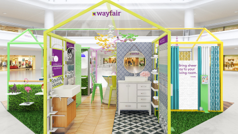 Wayfair reveals design concept for holiday pop-up shops. (Photo: Business Wire)