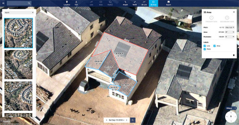 New Nearmap MapBrowser provides roof-pitch, height, width and area tools to help companies measure rooftops and structures without onsite inspections. (Photo: Business Wire)