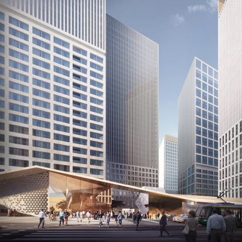 Helsinki High-rise competition proposal Trigoni by YIT. View towards Tower Square. Picture: YIT in c ...