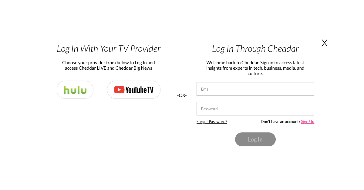 Cheddar and Synacor Enable Hulu with Live TV and YouTube TV
