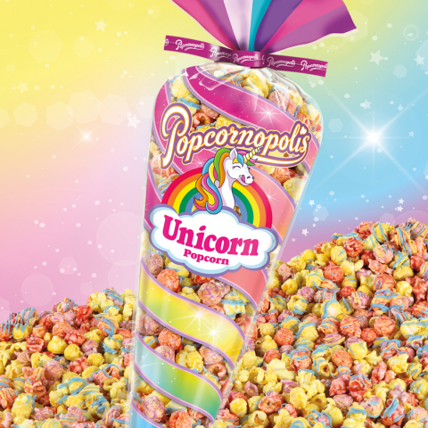 Inspired by myth and magically irresistible, Popcornopolis Unicorn Popcorn is popping with fruity flavor and enchanting taste buds of all ages. (Photo: Business Wire)