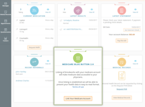 eClinicalWorks Becomes One of the First EHR Companies to Integrate with CMS Blue Button 2.0 API (Graphic: Business Wire)