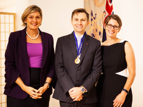 Australian Embassy, Washington, DC: Ambassador Katrina Cooper (left) with David Sinclair, PhD, and his wife Dr. Sandra Luikenhuis following Dr. Sinclair's appointment as an Officer of the Order of Australia. (Photo: Business Wire)
