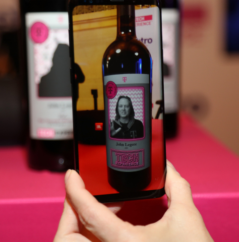 Augmented reality + 5G = Talking John Legere on a wine bottle (Photo: Business Wire)