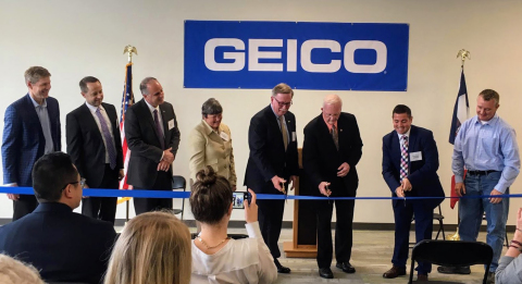 Delighted to be cutting the ribbon to celebrate the opening of GEICO's new Iowa office are, from lef ...