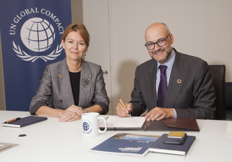 UN Global Compact CEO, Lise Kingo, and Tapestry, Inc. CEO, Victor Luis, at the UN Global Compact Hea ...