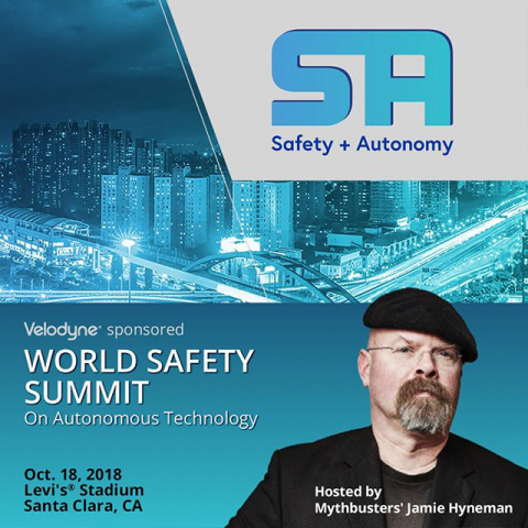 Velodyne LiDAR sponsors the World Safety Summit on Autonomous Technology, hosted by Jamie Hyneman, former host and executive producer of MythBusters. (Graphic: Business Wire