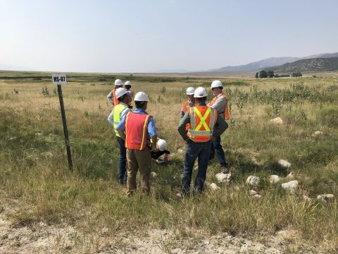 IUCN officials conducting field meeting with Newmont representatives on location in Nevada. (Photo:  ...