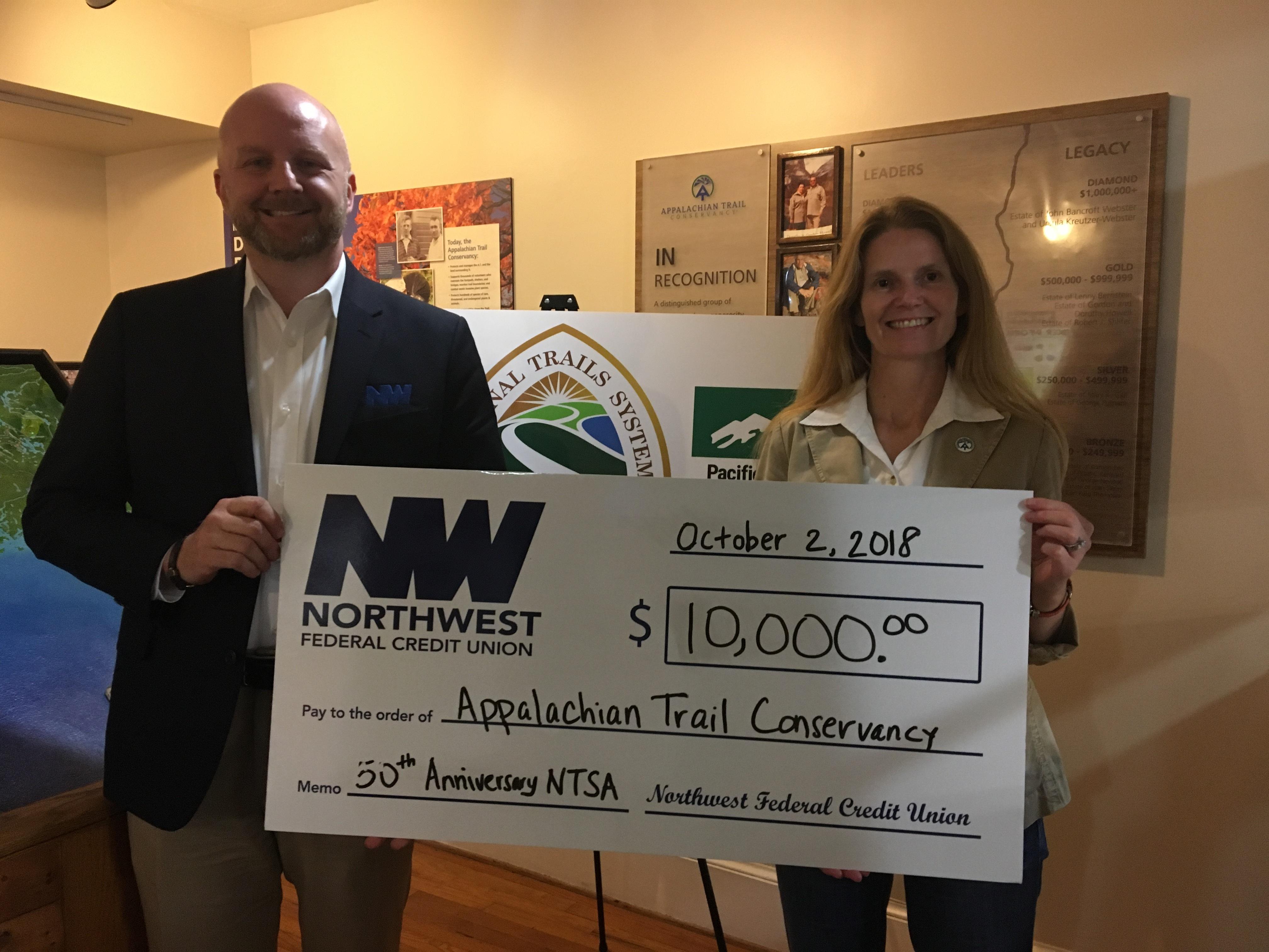 Northwest Federal Credit Union Login >> Northwest Federal Donates 10 000 To The Appalachian Trail