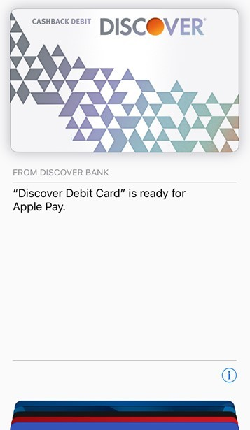Discover Cashback Debit Customers Can Now Add Their Card to Apple