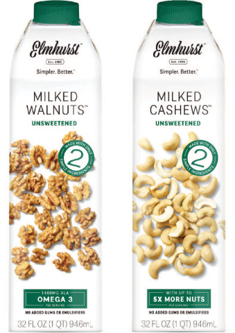 Elmhurst® 1925, maker of simple, nutritious and incredibly delicious plant-based nut and grain milks, today launches Unsweetened Milked Walnuts™ and Unsweetened Milked Cashews™, extensions of its beloved Unsweetened nut milk line crafted with only two simple ingredients – walnuts/cashews and water. (Photo: Business Wire)