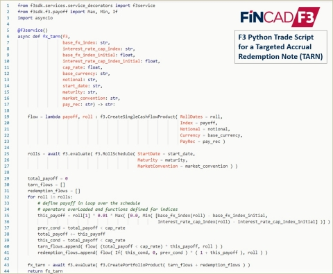 FINCAD F3 Python Trade Script for a TARN (Photo: Business Wire)