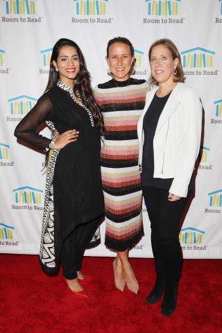 (L-R) Lilly Singh, Anne Wojcicki, and Susan Wojcicki attend Room to Read's 2018 International Day of ...