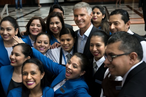 Hilton President & CEO Chris Nassetta with Team Members. (Photo: Business Wire)