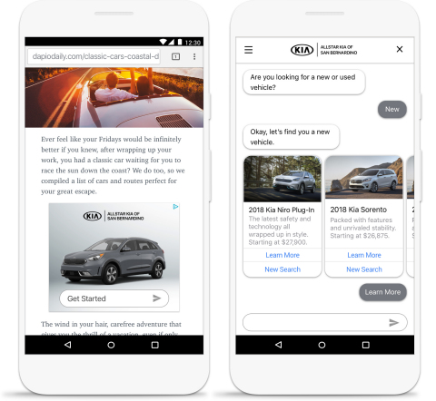 Google-incubated AdLingo taps the power of display advertising to help brands deliver their conversational assistants to consumers at scale. (Photo: Business Wire)