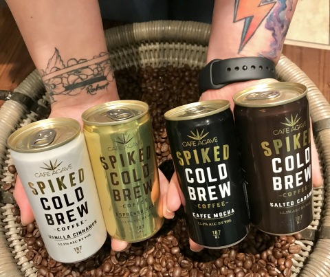 Cafe Agave Spiked Cold Brew in four delicious coffee-forward flavors: Espresso Shot, Caffe Mocha, Salted Caramel and Vanilla Cinnamon. (Photo: Business Wire)