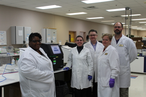 Standing inside Burlington's LabCorp facility are (from left): ACC Biotechnology students Tanya Mosly, Kelly Goldenbaum, Miles Bethenod, and Guy Aday; and Michelle Sabaoun, ACC Biotechnology Department Head. (Photo: Business Wire)