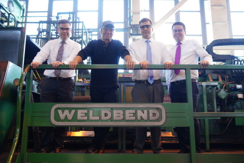 Michael Hammer, Mike Rowe, Kevin Coulas and Jimmy Coulas during a tour of the Weldbend manufacturing facility near Chicago.