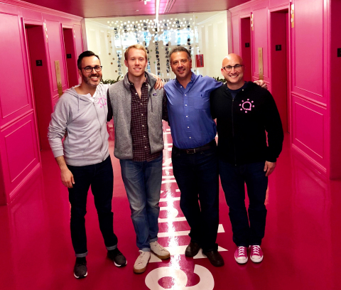 Pictured from left to right: Dan Berger, Social Tables CEO and Founder; Trevor Lynn, Social Tables CMO and Founder; Simon Rakoff, Fortify Ventures Partner; Jonathon Perrelli, Fortify Ventures Managing Director and Founder (Photo: Business Wire)