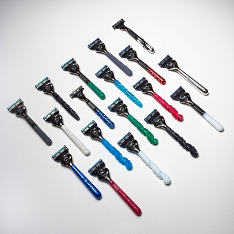 Gillette's new Razor Maker™ handles can be printed in seven colors, including black, white, red, blue, green, grey and chrome. (Photo: Business Wire)