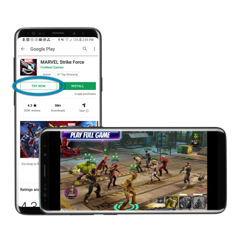 AppOnboard's App Store Demo for FoxNext Games' MARVEL Strike Force (Photo: Business Wire)