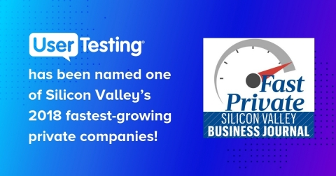 UserTesting Wins a Top Spot—Ranks #12—on Silicon Valley's 2018 Fastest-Growing Private Companies (Graphic: Business Wire)