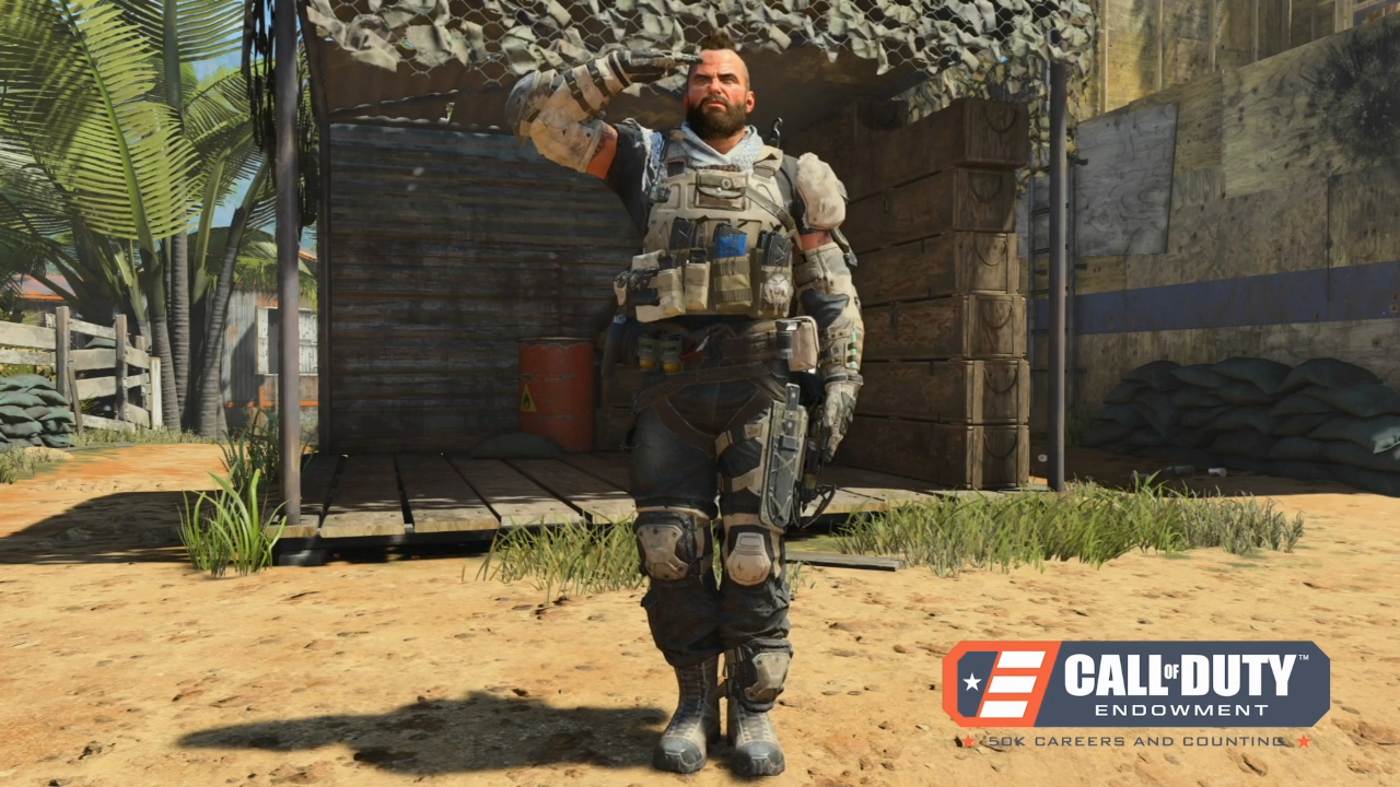 The Call of Duty®: Black Ops 4—Call of Duty Endowment Salute Pack (PS4/Xbox One/PC), developed by Treyarch, includes a special Call of Duty Endowment in-game tag, sticker, gesture, calling card, and emblem.